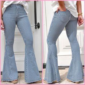 "Pin Stripe Bell Bottom Jeans - 32"" Inseam"